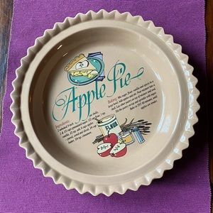 Vintage Stoneware Apple Pie Pan Fall Kitchen